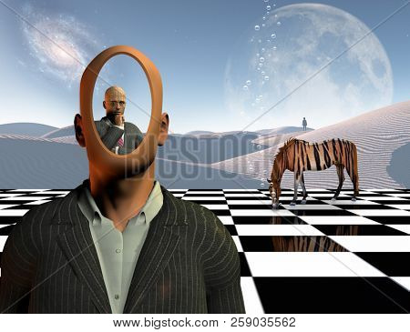 Surrealism. Faceless businessman with another thinking businessman behind him stands on chessboard. Lonely man in a distance. White sand desert. Striped horse like a tiger. 3D rendering