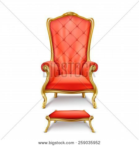 Luxurious Red Throne Chair With Carved Golden Legs And Small Stool For Feet Isolated On White Backgr