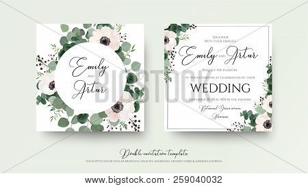Wedding Invitation, Floral Invite Square Card Design: Light Pink Anemone Flower, Green Eucalyptus Gr