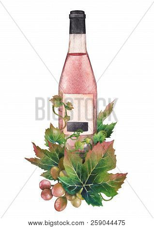 Watercolor Bottle Of Rose Wine Decorated With Grape Leaves And Berries
