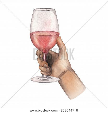 Watercolor Hand Holding Glass Of Rose Wine Isolated On White Background