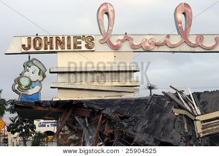 1950's Johnies broiler being destroyed after 40+ years