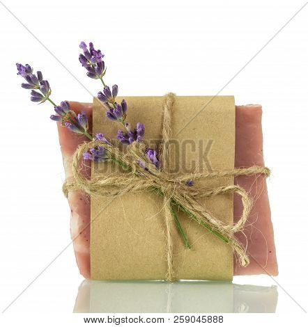 Lavender Soap And Fresh Twig Isolated On White