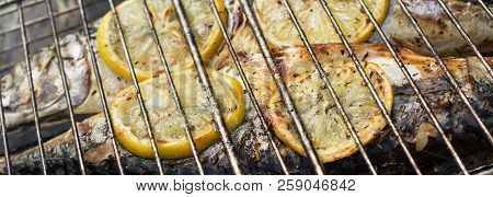 Mackerel Baked On A Grill With Lemon