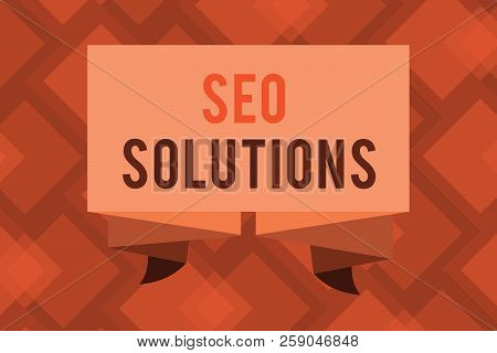 Conceptual Hand Writing Showing Seo Solutions. Business Photo Text Search Engine Result Page Increas