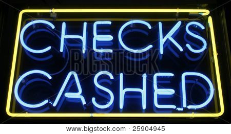 """neon sign"" series ""checks cashed"" poster"