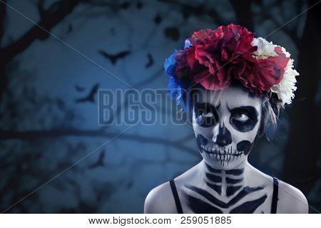 Woman Art Make Up. Scary Skull Make-up For Halloween. Face-art Body-art Is Painted, Paints For Body