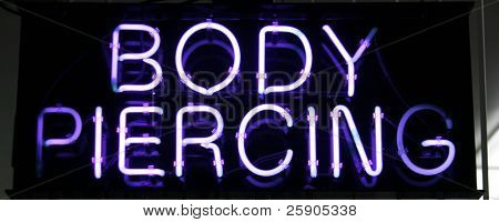 "Neon Sign Series ""body piercing"" poster"