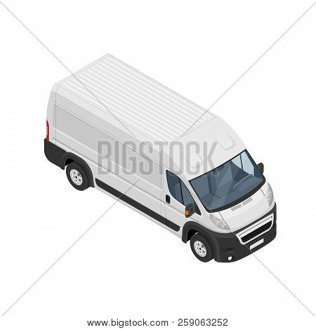 Isometric Commercial Van Icon Isolated On A White Background. Flat 3d Vector Isometric Illustration.