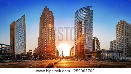 Panoramic View At The Potsdamer Platz At Sunset