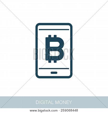 Mobile Bitcoin Business App Icon. Vector Design Of Blockchain Technology, Bitcoin, Altcoins, Cryptoc