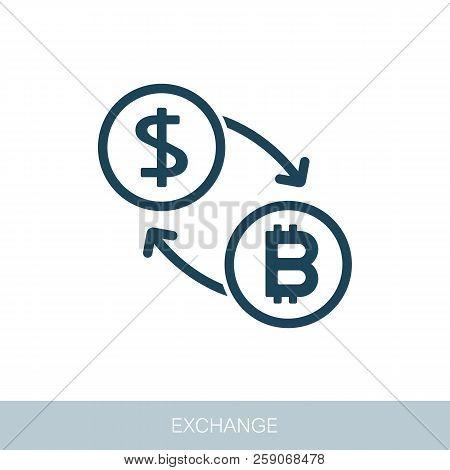 Bitcoin To Dollar Exchange Icon. Vector Design Of Blockchain Technology, Bitcoin, Altcoins, Cryptocu