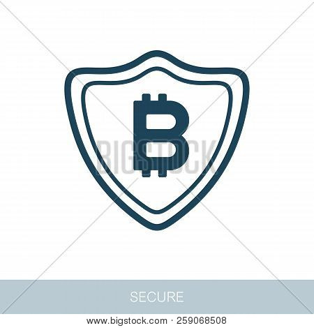 Secured Digital Internet Cryptocurrency Bitcoin Icon. Vector Design Of Blockchain Technology, Bitcoi
