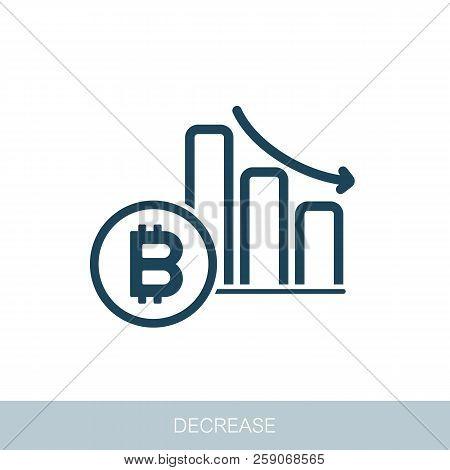 Bitcoin Rate Decrease Icon. Vector Design Of Blockchain Technology, Bitcoin, Altcoins, Cryptocurrenc