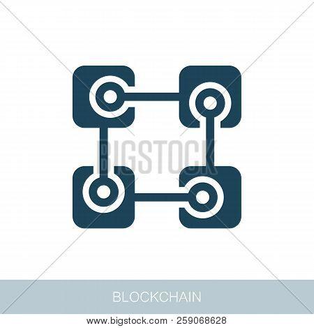 Blockchain Vector Icon. Vector Design Of Blockchain Technology, Bitcoin, Altcoins, Cryptocurrency Mi