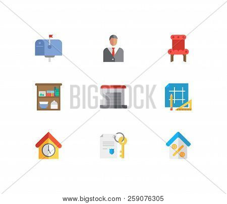 Property Icons Set. Leased And Property Icons With Property Paper, Chair And Agent. Set Of Equipment