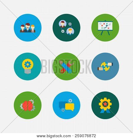 Technology Partnership Icons Set. Teamwork And Technology Partnership Icons With Technical Partnersh