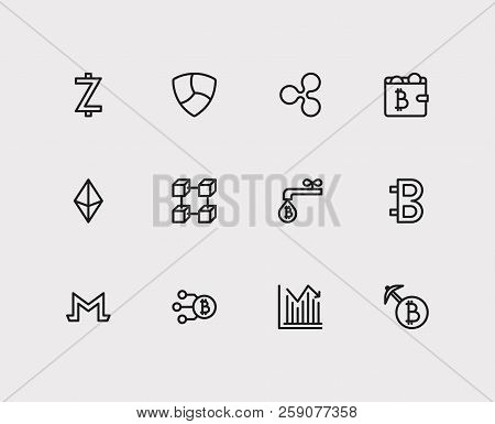 Blockchain Icons Set. Stock Price And Blockchain Icons With Monero, Coin Faucet And Zcash. Set Of Da