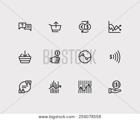 Finance Trading Icons Set. Stock Market And Finance Trading Icons With Bid, Sell And Invest Money. S