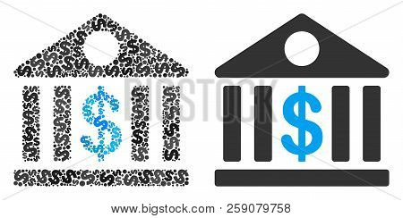 Bank Building Collage Of Dollar Symbols And Small Round Pixels. Vector Dollar Symbols Are Organized