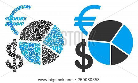 Currency Pie Chart Mosaic Of Dollars And Small Round Dots. Vector Dollar Currency Icons Are United I