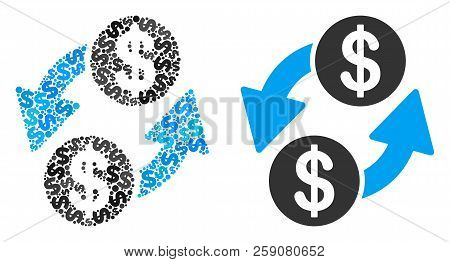 Dollar Exchange Composition Of Dollar Symbols And Small Round Circles. Vector Dollar Symbols Are Org