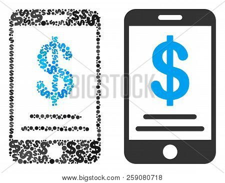 Dollar Mobile Wallet Collage Of Dollar Symbols And Small Round Dots. Vector Dollar Symbols Are Compo