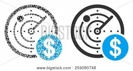 Dollar Radar Composition Of Dollar Symbols And Small Round Circles. Vector Dollar Symbols Are Combin