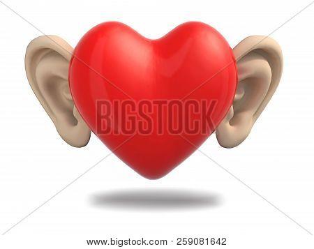 Cartoon Heart With Big Ears, 3d Illustration