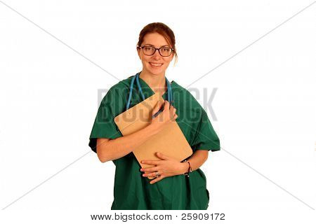 A very smart young nurse or doctor isolated on white in various poses