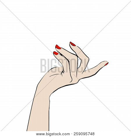 Beautiful Female Hand Pointed By Gesture Aside Isolated On White Background. Beautiful Female Hand W