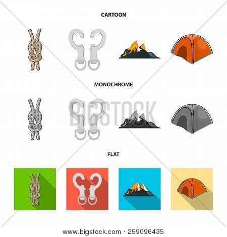 Vector Design Of Mountaineering And Peak Sign. Collection Of Mountaineering And Camp Stock Symbol Fo