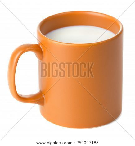 Full Cup Of Milk Isolated On White Background