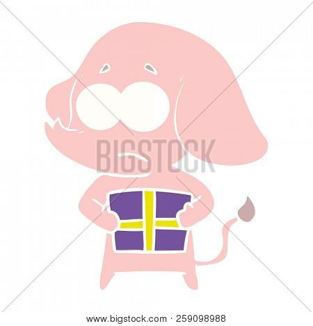 flat color style cartoon unsure elephant with christmas present