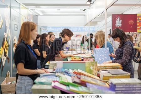 Lviv, Ukraine - September 19, 2018: Book Sellers And Shoppers Among Book Stalls At The 25Th Lviv Int