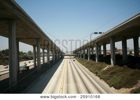 110 freeway north bound in Los Angeles California with On Ramps and off ramps traffic poster