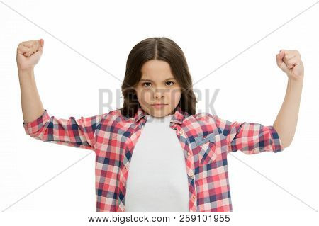 Girl Concentrated Serious Face Feels Powerful Isolated White. Girls Power Concept. Let Her Feel Stre
