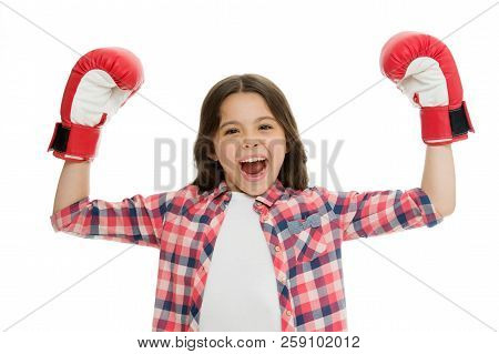 Winner Boxing Competition. Girl Boxing Gloves Feels Powerful. Happy Boxer Winner Boxing Championship