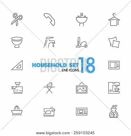 Household Icons. Set Of Line Icons. Ironing, Faucet, Oven. Housekeeping Concept. Vector Illustration