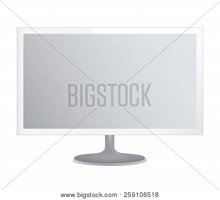 White Computer Monitor On White Background. Realistic Vector Illustration, For Graphic And Web Desig