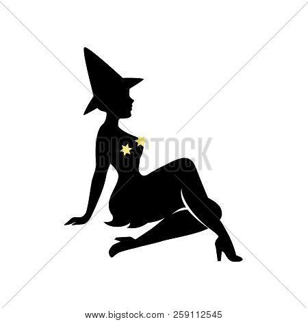 Black Silhouette Of Witch In Hat, Halloween. Sorceress In Dress Is Sitting Sideways. Young Woman In