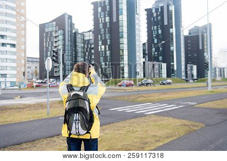 Tourist Well Equipment Ready Explore Scandinavian Or Nordic Country. Tourist On Urban Background. Ma