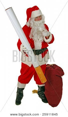 Santa Claus holds a Giant Cigarette and Shakes his Finger at You The Viewer saying NO SMOKING isolated on white