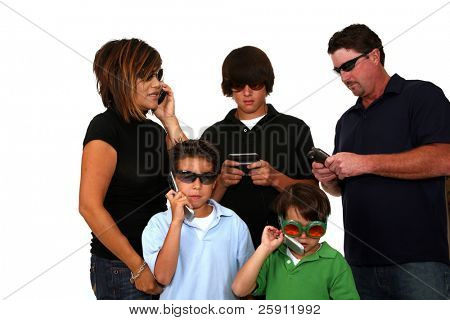 a happy family plugged into technology