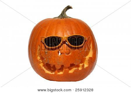 Halloween Jack O Lantern with sunglasses isolated on white