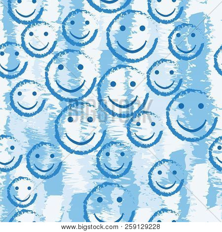Smile Face Seamless Pattern. Vector Background Texture