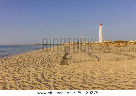 Coast Beach View Of Beautiful Ilha Do Farol (lighthouse Island), In Ria Formosa Famous Nature Destin