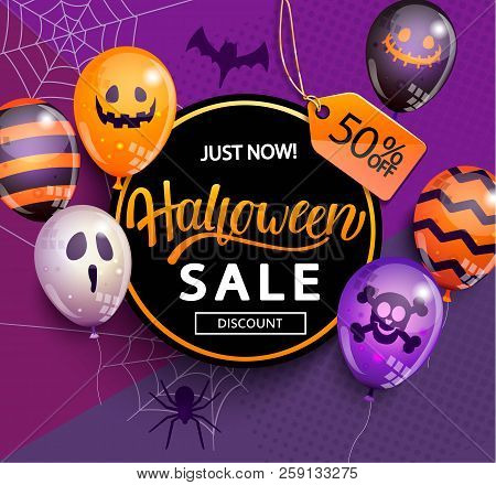 Sale Banner For Happy Halloween Holiday With Lettering On Geometric Background With Monster Balloons