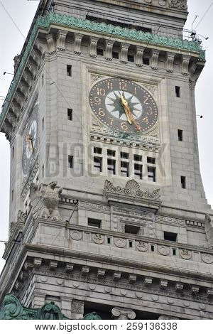 Boston, Ma - Jun 16: Custom House Clock Tower In Boston, Massachusetts, As Seen On Jun 16, 2018. The