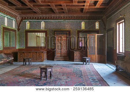 Cairo, Egypt - August 26 2018: Manial Palace Of Prince Mohammed Ali. Moroccan Hall At The Ceremonies
